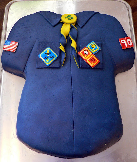 Boy Scout Shirt Cake, cub scout cake, cub scout shirt, boy scout shirt