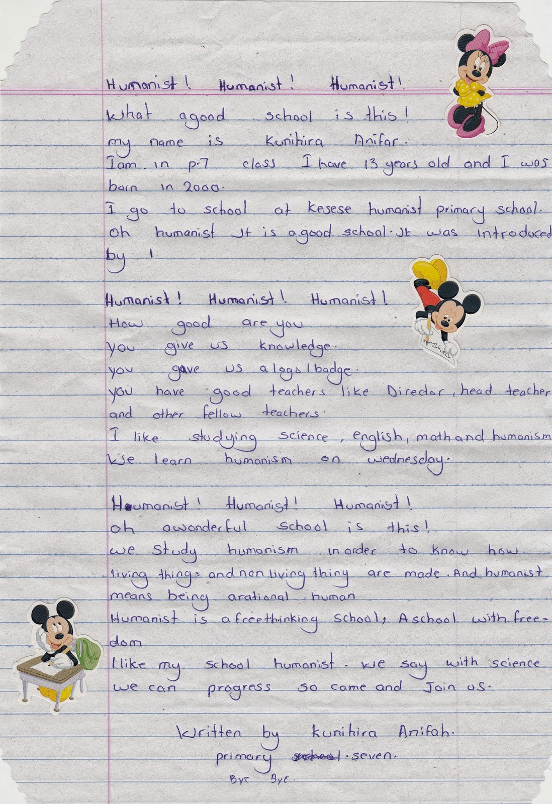 My secret atheist blog students of kasese humanist primary school heres the original letter which i very likely mis transcribed somehow altavistaventures Image collections
