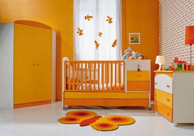 Dormitorios de beb s con acentos naranjas dormitorios con estilo - Color paredes habitacion bebe ...