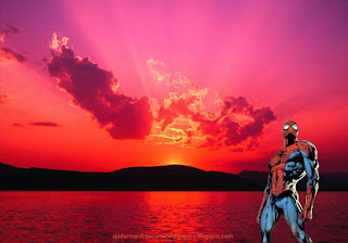 Spiderman desktop Wallpaper standing walking tall at Sunset Desktop wallpaper