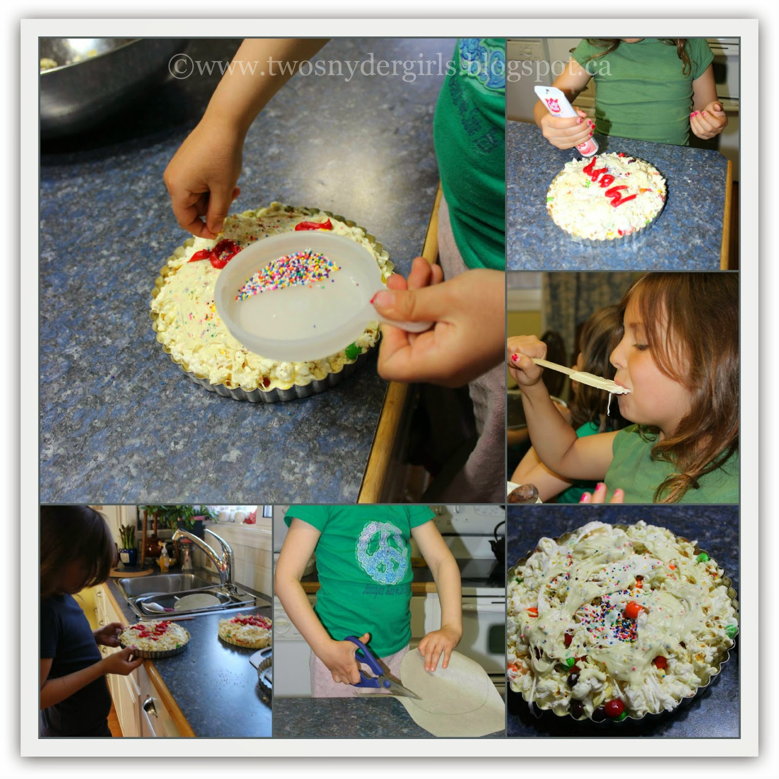 Collage of making a popcorn candy pizza