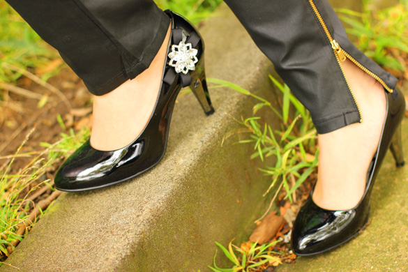Black Patent Pumps with DIY Embellishment
