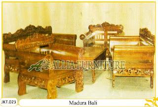 Kursi Tamu & Meja Set Ukiran Kayu Jati Madura Bali