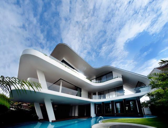 Современный дом в пригороде Сингапура