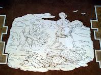 Detall d'un dels esgrafiats de la Casa Llopart en que es fa referència a la sega