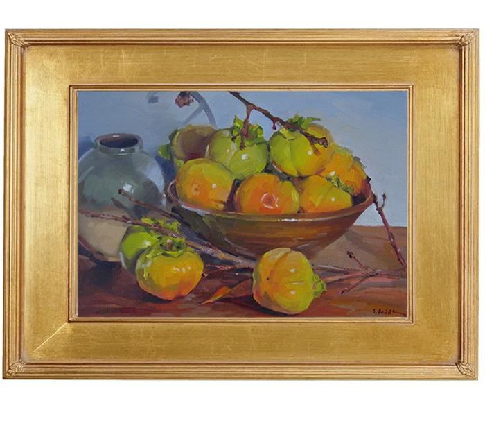 "Sedwick Studio Purple Bowl Of Plums Fruit Bowl Still: Sedwick Studio: ""Ripening Persimmons"" Art Still Life Fruit"