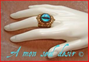 Bague bronze médiéval fantasy oeil de dragon bleu Daenerys Targaryen Qarth blue dragon's eye ring jewelery