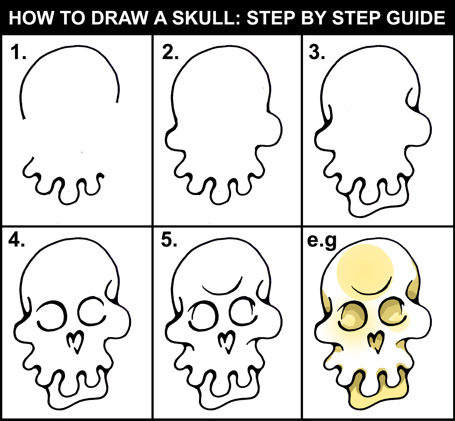 DARYL HOBSON ARTWORK How To Draw A Skull Step By Step Art Guide