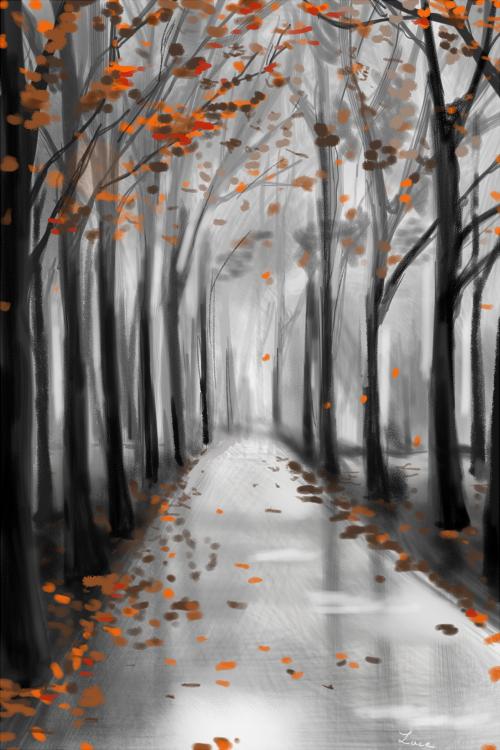 dessin lace forêt sous la pluie automne