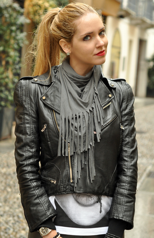 Power Shoulder Leather Biker Jacket