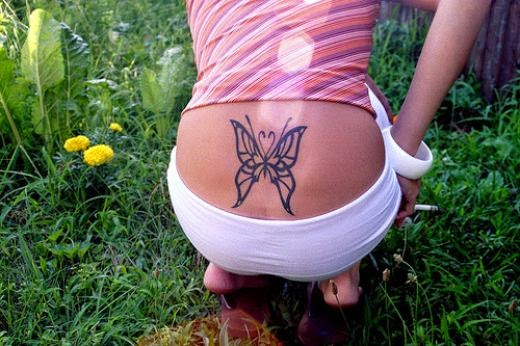 Girls cherry blossom back Tattoo flower Desingns