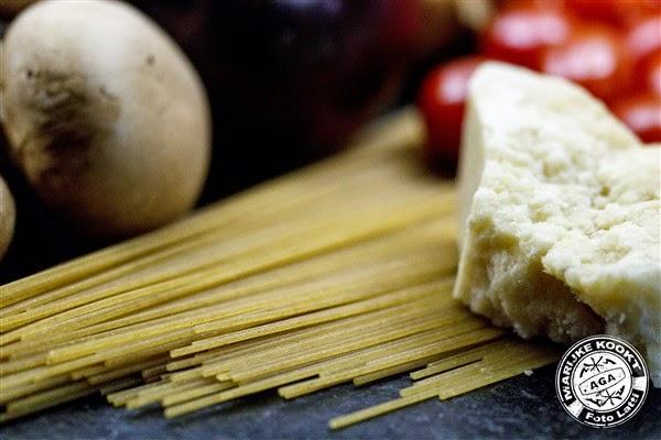 'Pasta de Vie' met veel groentjes en scampi's