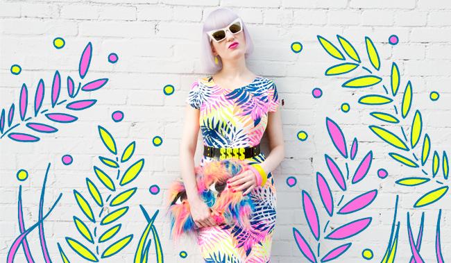 Neon look, tropical prints, desire clothing uk