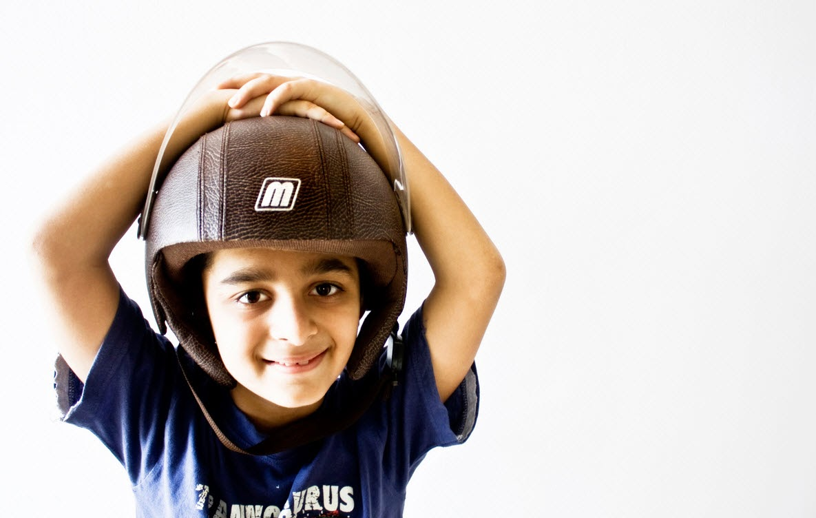 child wearing helmet