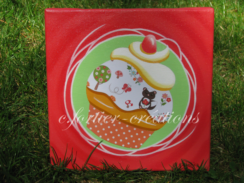 L 39 atelier de carine fortier tableau cupcake d co chambre b b tableaux - Creation deco chambre ...