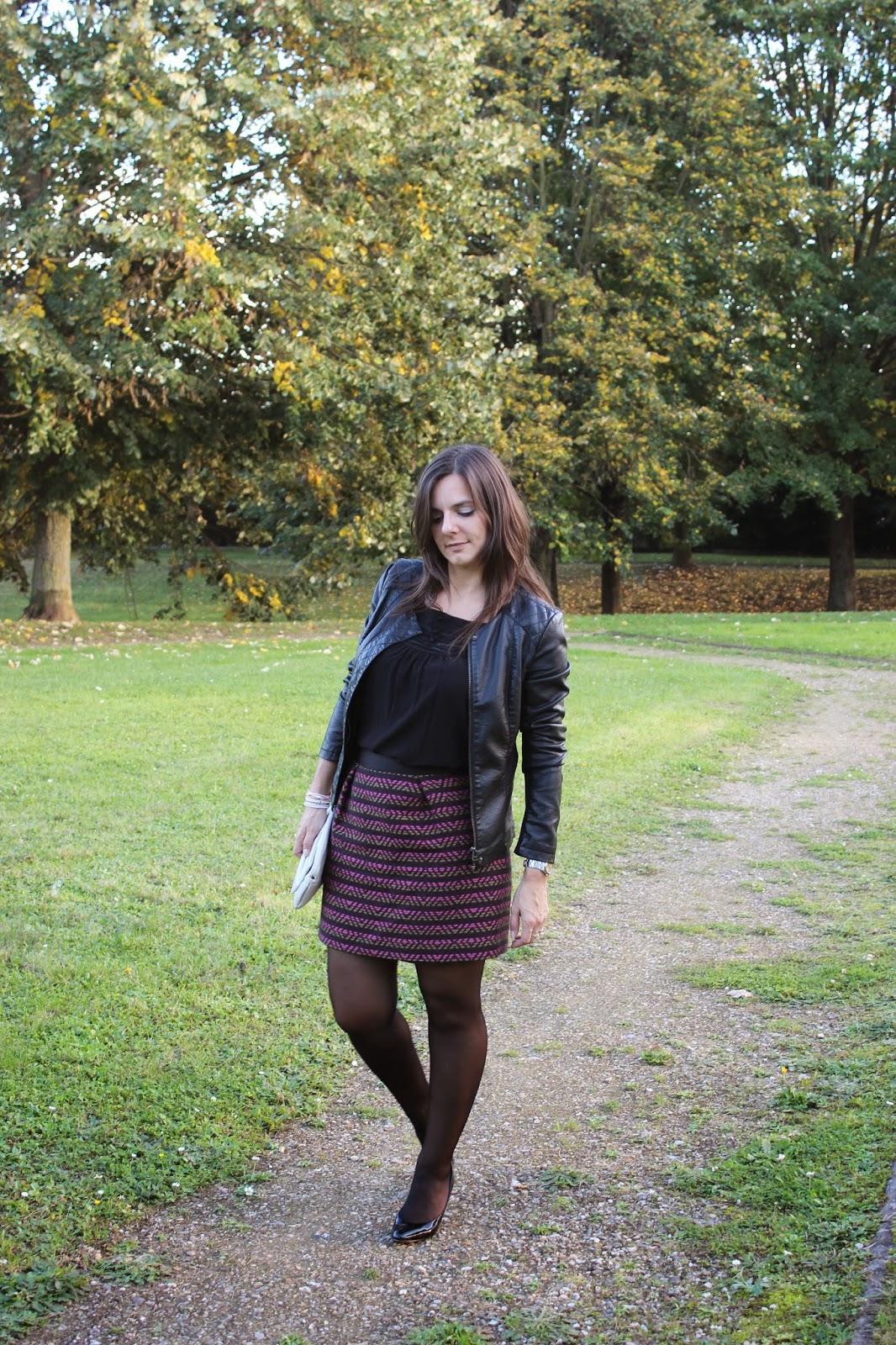 jupe jacquard comptoir des cotonniers, veste en cuir