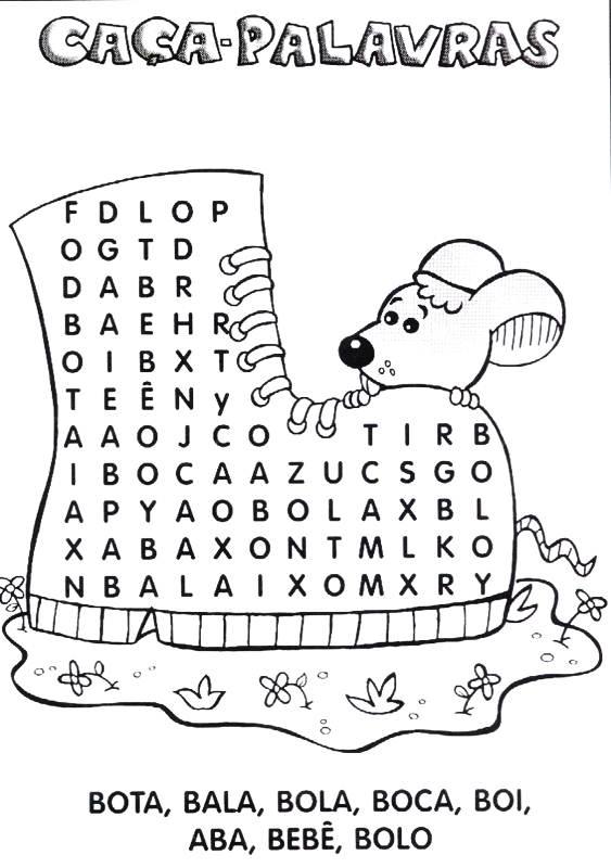 a desenhar Cata palavras colorir