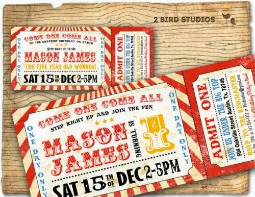 Invitación boleto de circo vintage