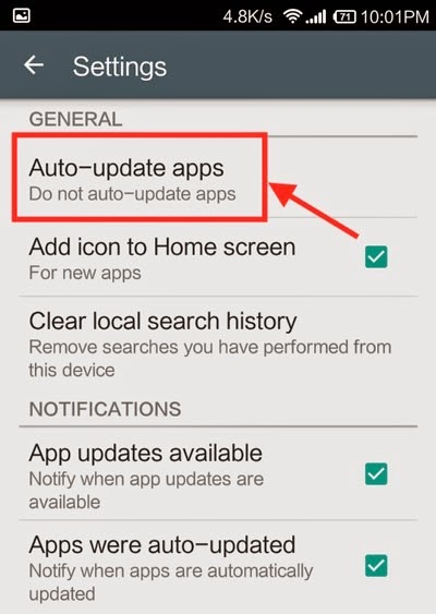 turn off app automatic update in android