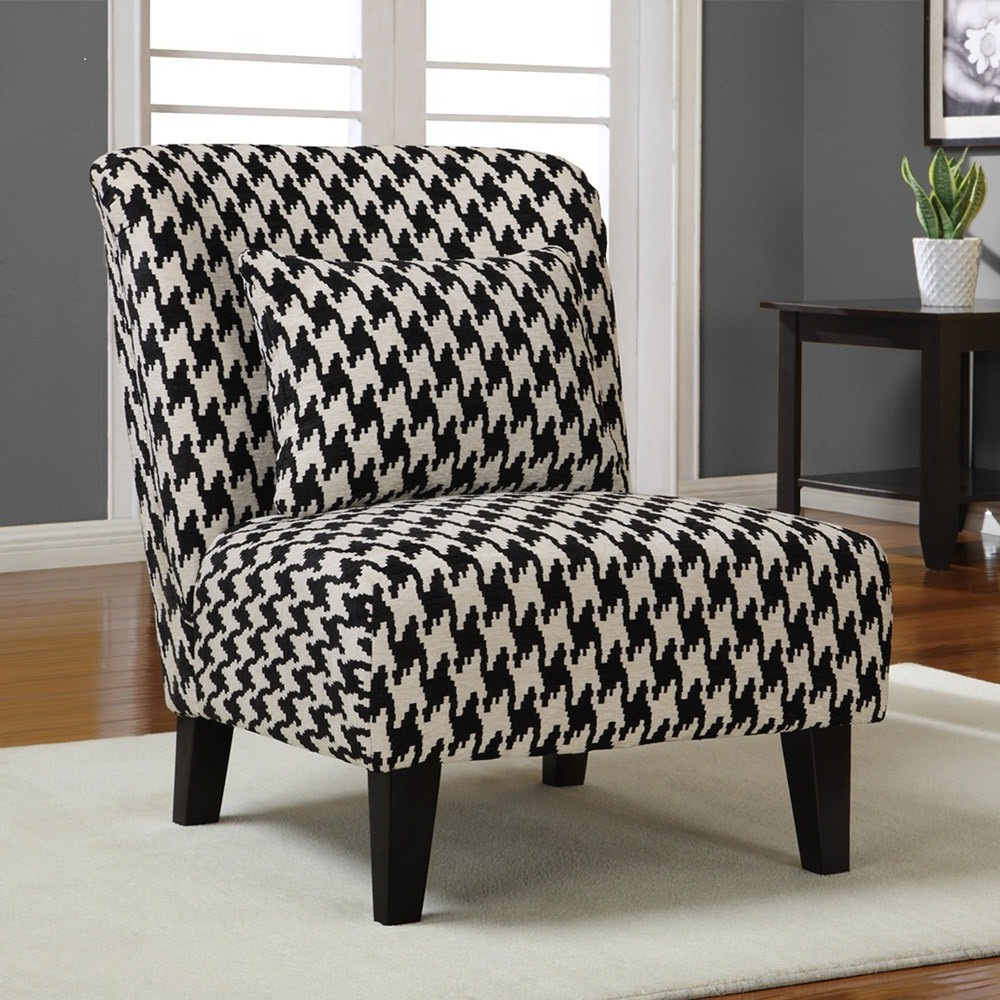 Maggie S Room Armless Houndstooth Chenille Accent Chair