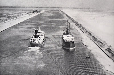 Merchant ships in the Suez Canal.