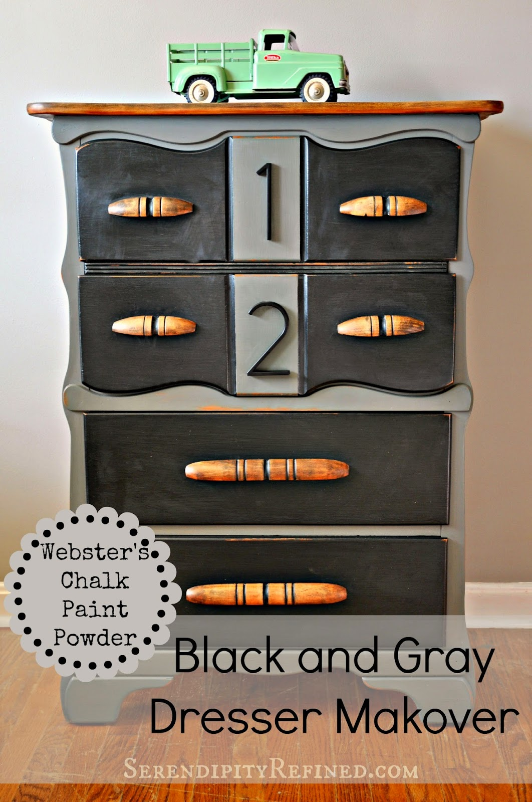 Webster's Painted Furniture Chalk Paint Powder DIY Tutorial Black and Gray Painted Dresser by SerendipityRefined.com