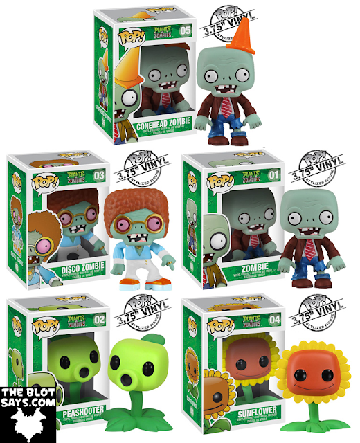 Plants vs. Zombies Pop! Vinyl Figures by Funko - Conehead Zombie, Disco Zombie, Zombie, Peashooter & Sunflower