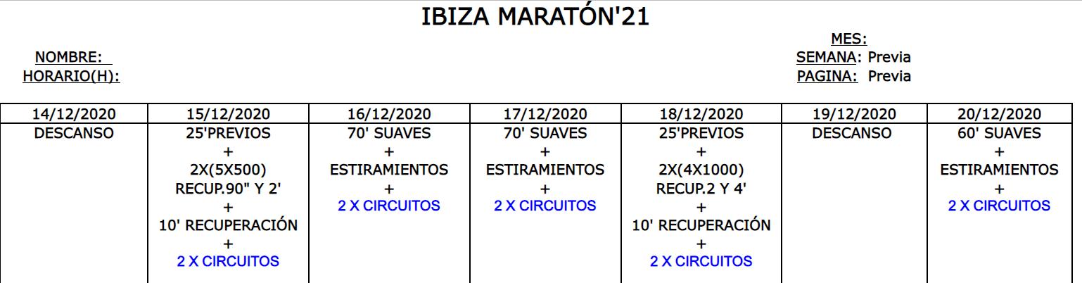 Entreno Maratón Ibiza'21