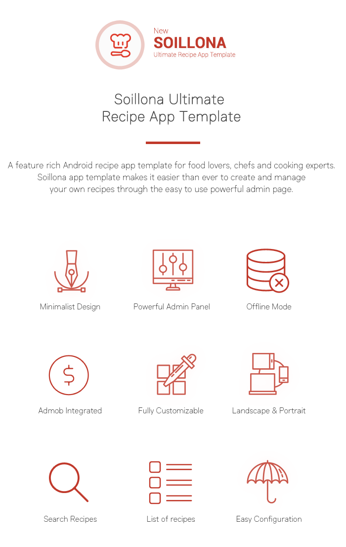 Soillona recipes app with backend php script download a feature rich android recipe app template for food lovers chefs and cooking experts soillona app template makes it easier than ever to create and manage forumfinder Choice Image