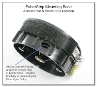 SaberStrip Mounting Base - Access Hole Size & Location, Velcro Strip Location