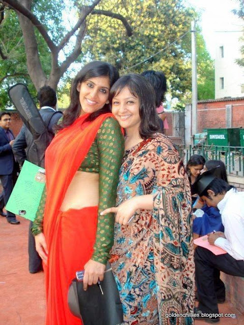spicy college girls saree show in college function pics gallery
