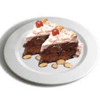 Plato con dos porciones de torta de guinda
