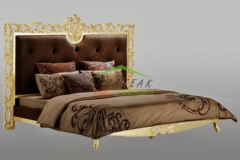 Alba Gold Leaf Bed with Brown Velvet