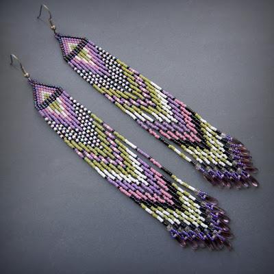 long beaded earrings beadwork beading jewelry boho anabel 27
