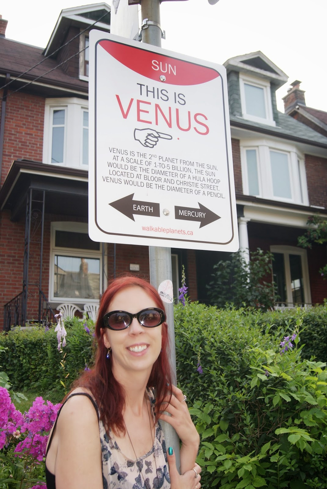 Venus Wayfinding Sign from Walkable Planets scale solar system by Jode Roberts in Toronto, Public, Installation, Community, Project, Intervention, Explore, Grace Street, Gore Vale Avenue, Jane's Walk, 100-in1 Day, Ontario, Canada, Culture, Lifestyle, Galaxy, Art, Artist