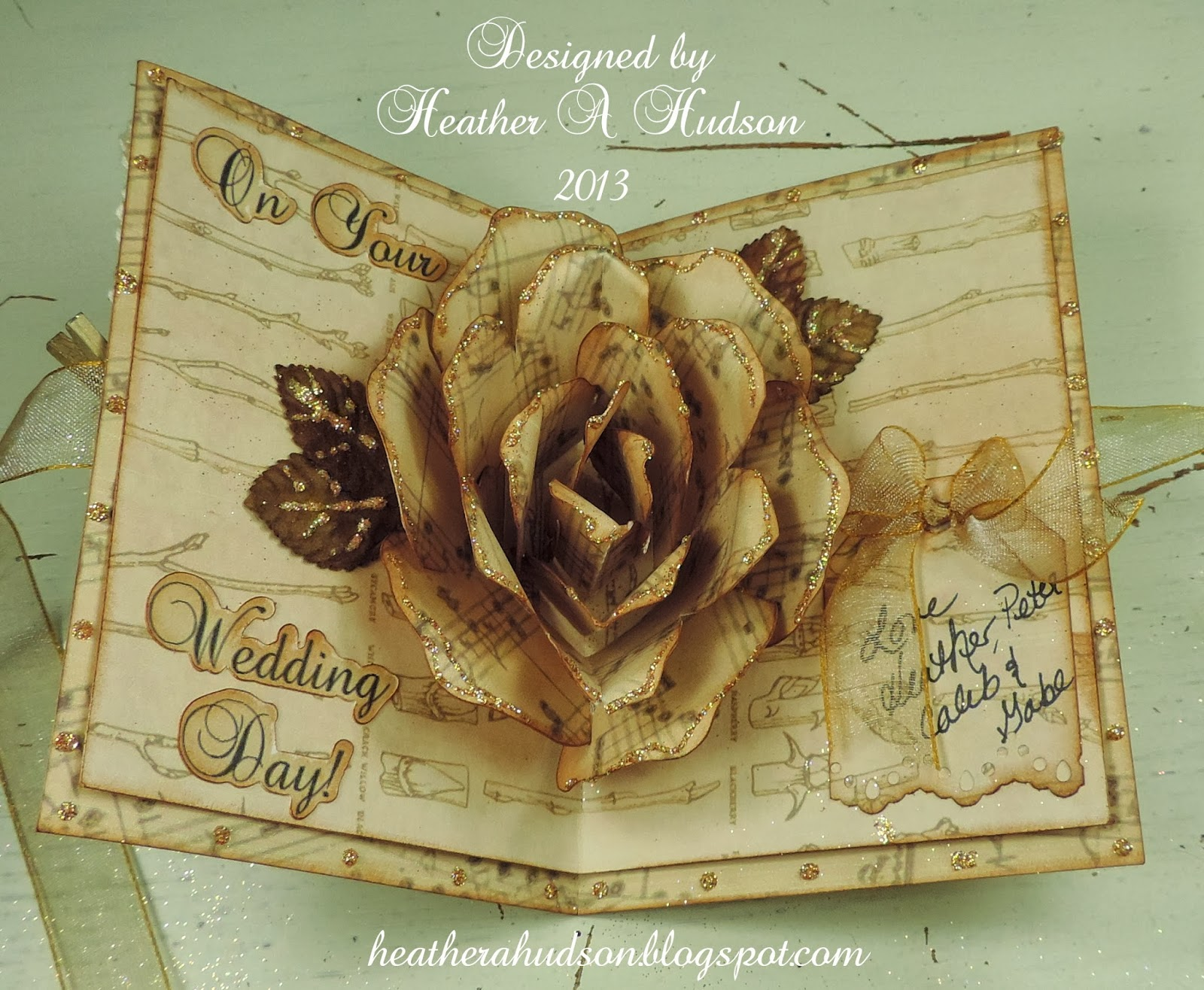 How To Make Wedding Pop Up Cards : Heather A Hudson: Romantic Vintage Wedding Rose Pop Up Card