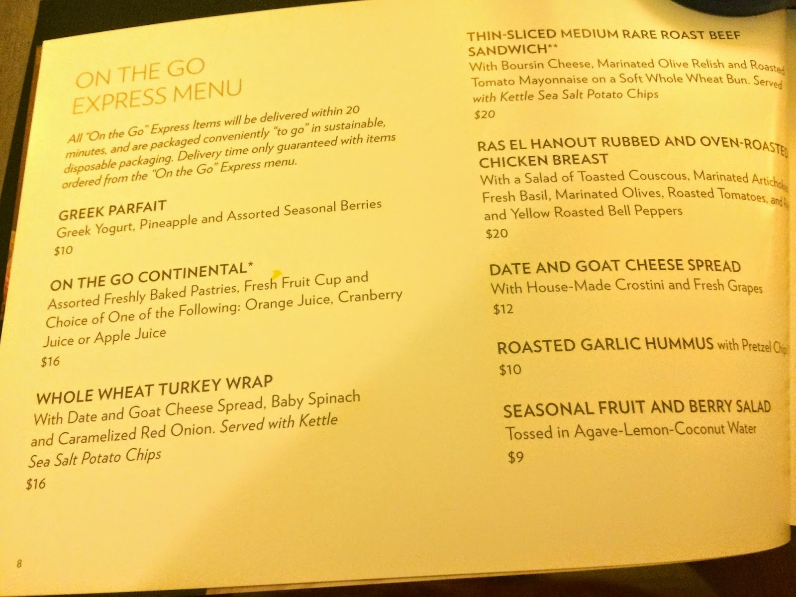 Mandalay Bay Room Service Menu Prices