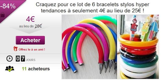 Lot de 6 bracelets stylos hyper tendances à seulement 4€  bon plan stylo bon plan bracelet cadeau original