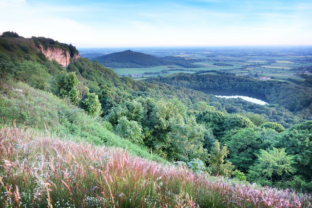 Whitestone Cliff and Gormire Lake on this Sutton Bank Walk, white horse