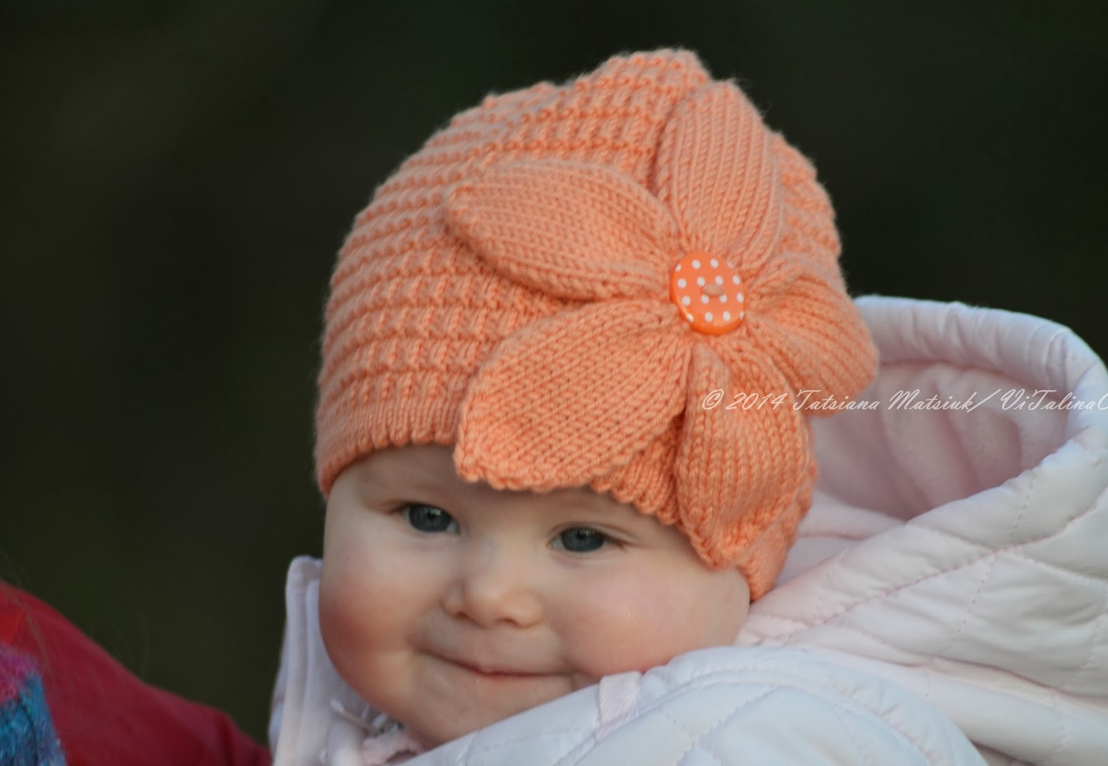 Knitted Baby Beanies Free Patterns : Peach Flower Baby Hat Knitting Pattern ViTalina Craft