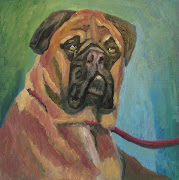 BULL MASTIFF. 7 x 7. Oil on Board. Most dog breeds look to me as if they .