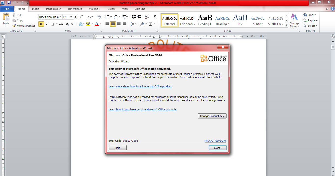 product activation failed office