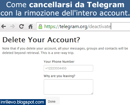 cancellarsi da telegram
