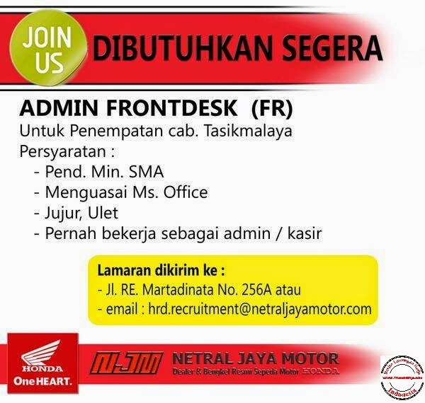 Lowongan Kerja Admin Frontdesk Netral Jaya Motor Cabang Tasikmalaya
