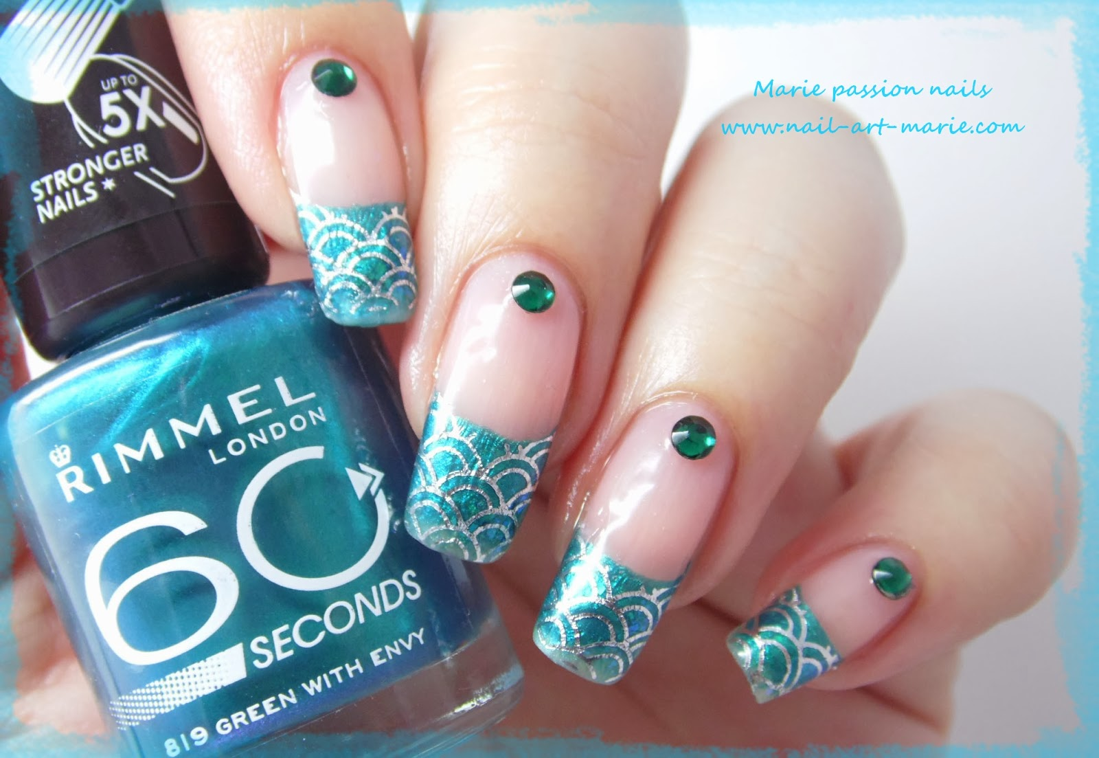 Nail art Mermaid French1