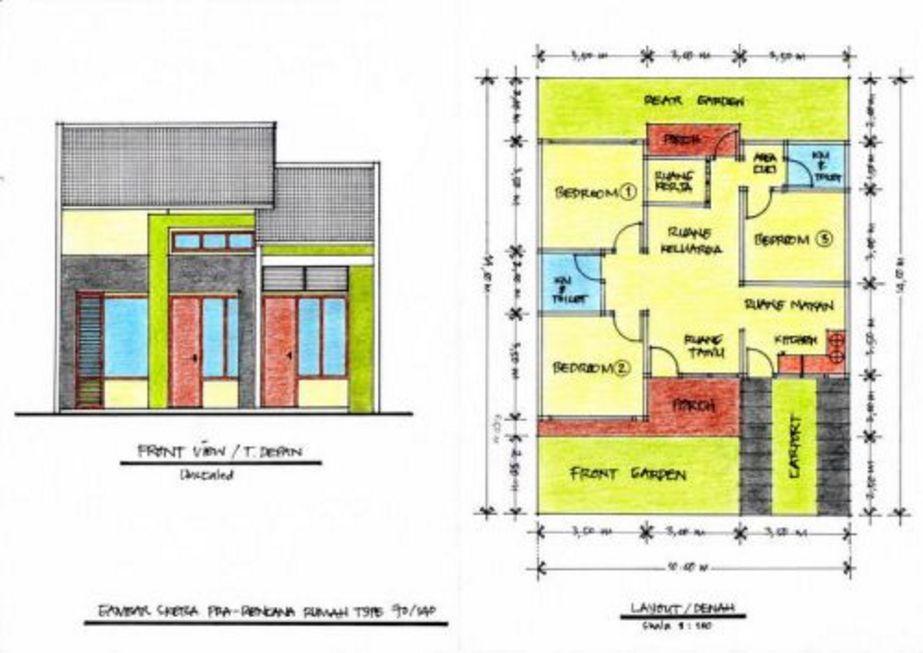model denah rumah 3 kamar tidur type 70 kreatif