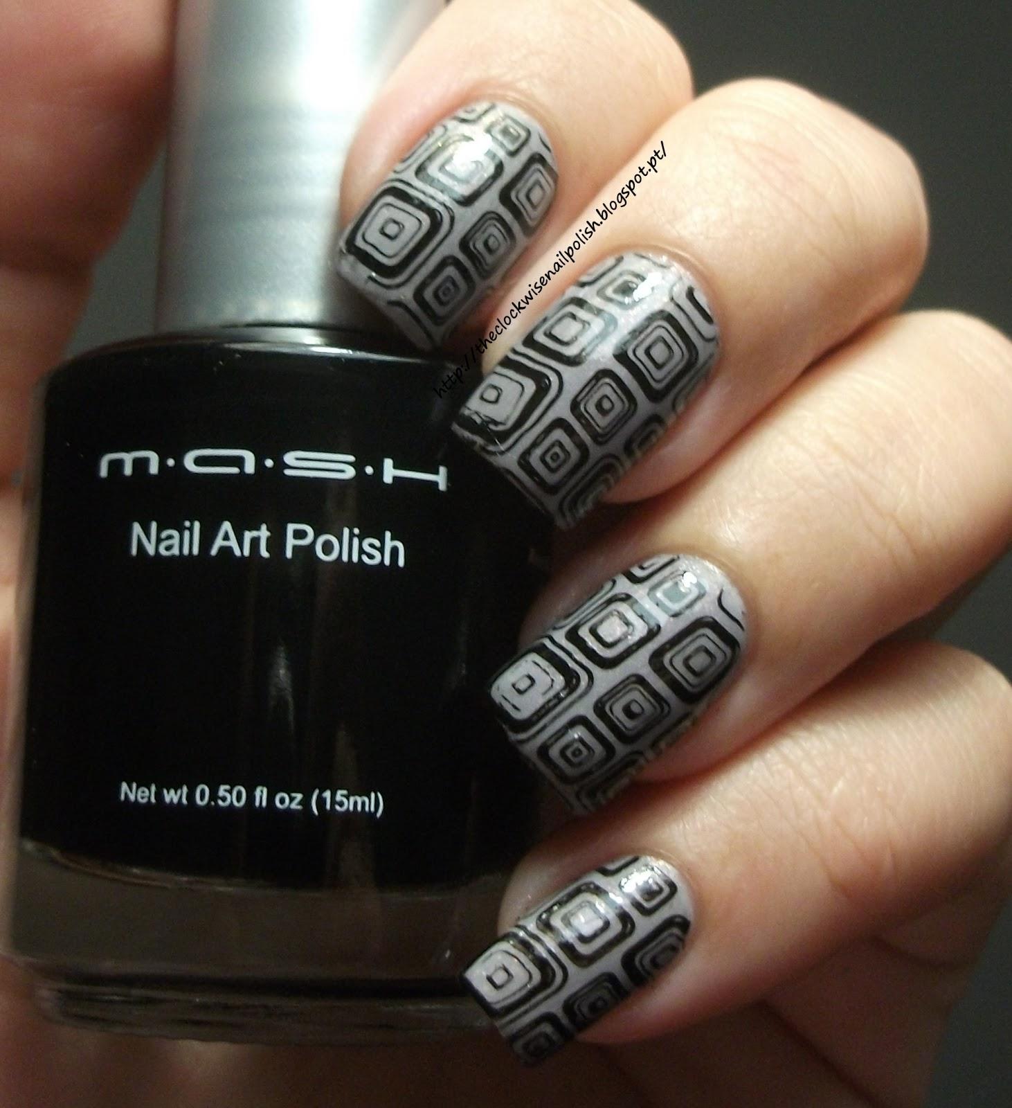 Nail art using black polish : Nail polish review mash art for stamping black