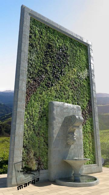 Detalle de fuente y muro verde marqa for Tela para muro verde