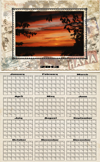 A vintage style calendar template for photoshop for the 2013 year with space for photo insert at the top.