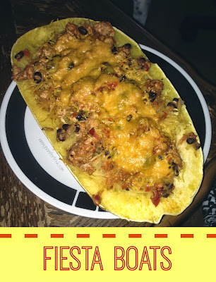 Fiesta Boats - Spaghetti Squash filled with ground turkey, beans, and cheese.  What could be more fun?